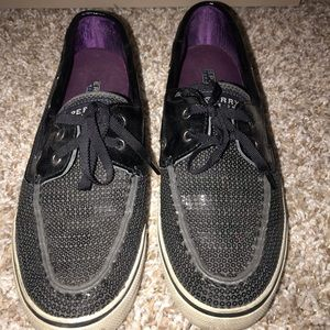 Black Sequin Sperry's!! Great condition!